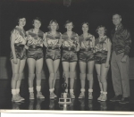 1955 Girls Basketball  ------- Left to right: Peggy Miller, Rebecca Stephens, Wanda Dodson, Linda Lewellyng, Barbara Mar