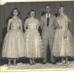 1957: Left to right: Barbara Martin, Joy Park, Coach & Teacher Pat Vinson, Wanda Dodson