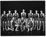 1956 Boys Basketball ----- Front: Wesley Walton, Coach Vinson, Johnny Cherry. Back: Don Miller, Bill Embe, Franklin Myer