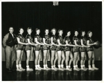 1956 Girls Basketball ----- Coach Vinson, Becky Stephens, Wanda Dodson, Linda Lewellying, Jane Thompson, Fay Donahoo, Iv